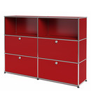 USM Haller Highboard L, Customisable, USM ruby red, Open, With 2 drop-down doors, With 2 drop-down doors