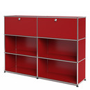 USM Haller Highboard L, Customisable, USM ruby red, With 2 drop-down doors, Open, Open