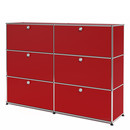 USM Haller Highboard L, Customisable, USM ruby red, With 2 drop-down doors, With 2 drop-down doors, With 2 drop-down doors