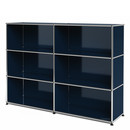 USM Haller Highboard L, Customisable, Steel blue RAL 5011, Open, Open, Open