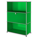 USM Haller Highboard M with 1 Drop-down Door, USM green