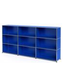 USM Haller Highboard XL, Customisable, Gentian blue RAL 5010, Open, Open, Open