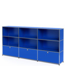 USM Haller Highboard XL, Customisable, Gentian blue RAL 5010, Open, Open, With 3 drop-down doors