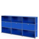 USM Haller Highboard XL, Customisable, Gentian blue RAL 5010, Open, With 3 drop-down doors, Open