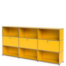 USM Haller Highboard XL, Customisable, Golden yellow RAL 1004, Open, With 3 drop-down doors, Open
