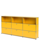 USM Haller Highboard XL, Customisable, Golden yellow RAL 1004, Open, With 3 drop-down doors, With 3 drop-down doors