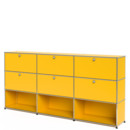 USM Haller Highboard XL, Customisable, Golden yellow RAL 1004, With 3 drop-down doors, With 3 drop-down doors, Open