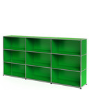 USM Haller Highboard XL, Customisable, USM green, Open, Open, Open