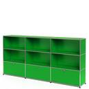 USM Haller Highboard XL, Customisable, USM green, Open, Open, With 3 drop-down doors