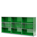 USM Haller Highboard XL with 3 Glass Doors, with lock handle, USM green