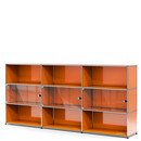 USM Haller Highboard XL with 3 Glass Doors, with lock handle, Pure orange RAL 2004