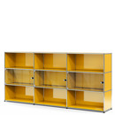 USM Haller Highboard XL with 3 Glass Doors, without lock, Golden yellow RAL 1004
