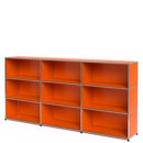 USM Haller Highboard XL, Customisable, Pure orange RAL 2004, Open, Open, Open