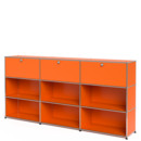 USM Haller Highboard XL, Customisable, Pure orange RAL 2004, With 3 drop-down doors, Open, Open