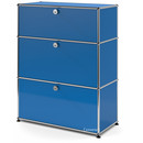 USM Haller Storage Unit with 3 Drawers, H 95 + 4 x W 75 x D 35 cm, Gentian blue RAL 5010