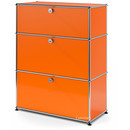 USM Haller Storage Unit with 3 Drawers, H 95 + 4 x W 75 x D 35 cm, Pure orange RAL 2004