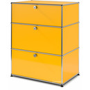 USM Haller Storage Unit with 3 Drawers, H 95 + 4 x W 75 x D 50 cm, Golden yellow RAL 1004