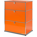 USM Haller Storage Unit with 3 Drawers, H 95 + 4 x W 75 x D 50 cm, Pure orange RAL 2004