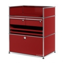USM Haller Surgery Sideboard, USM ruby red, All compartments with a lock