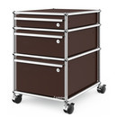 USM Haller Mobile Pedestal with 3 Drawers Type II (with Counterbalance), All compartments with a lock, USM brown