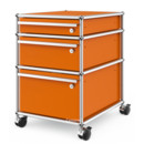 USM Haller Mobile Pedestal with 3 Drawers Type II (with Counterbalance), All compartments with a lock, Pure orange RAL 2004