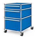 USM Haller Mobile Pedestal with 3 Drawers Type II (with Counterbalance), No locks, Gentian blue RAL 5010