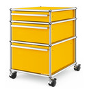 USM Haller Mobile Pedestal with 3 Drawers Type II (with Counterbalance), No locks, Golden yellow RAL 1004