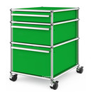 USM Haller Mobile Pedestal with 3 Drawers Type II (with Counterbalance), No locks, USM green