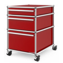 USM Haller Mobile Pedestal with 3 Drawers Type II (with Counterbalance), No locks, USM ruby red