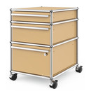 USM Haller Mobile Pedestal with 3 Drawers Type II (with Counterbalance), Lowest drawer with lock, USM beige