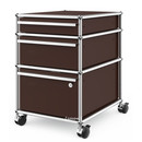 USM Haller Mobile Pedestal with 3 Drawers Type II (with Counterbalance), Lowest drawer with lock, USM brown