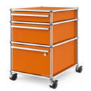 USM Haller Mobile Pedestal with 3 Drawers Type II (with Counterbalance), Lowest drawer with lock, Pure orange RAL 2004