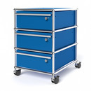 USM Haller Mobile Pedestal with 3 Drawers Type I (with Counterbalance), All compartments with a lock, Gentian blue RAL 5010