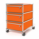 USM Haller Mobile Pedestal with 3 Drawers Type I (with Counterbalance), All compartments with a lock, Pure orange RAL 2004