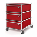 USM Haller Mobile Pedestal with 3 Drawers Type I (with Counterbalance), All compartments with a lock, USM ruby red