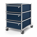 USM Haller Mobile Pedestal with 3 Drawers Type I (with Counterbalance), All compartments with a lock, Steel blue RAL 5011