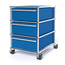 USM Haller Mobile Pedestal with 3 Drawers Type I (with Counterbalance), No locks, Gentian blue RAL 5010
