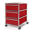 USM Haller Mobile Pedestal with 3 Drawers Type I (with Counterbalance), No locks, USM ruby red