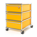 USM Haller Mobile Pedestal with 3 Drawers Type I (with Counterbalance), Top drawer with lock, Golden yellow RAL 1004