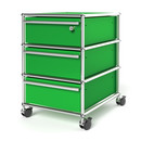 USM Haller Mobile Pedestal with 3 Drawers Type I (with Counterbalance), Top drawer with lock, USM green