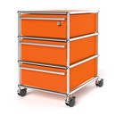 USM Haller Mobile Pedestal with 3 Drawers Type I (with Counterbalance), Top drawer with lock, Pure orange RAL 2004