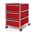USM Haller Mobile Pedestal with 3 Drawers Type I (with Counterbalance), Top drawer with lock, USM ruby red