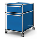USM Haller Mobile Pedestal with Hanging File Basket, All compartments with a lock, Gentian blue RAL 5010