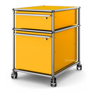 USM Haller Mobile Pedestal with Hanging File Basket, All compartments with a lock, Golden yellow RAL 1004