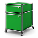 USM Haller Mobile Pedestal with Hanging File Basket, All compartments with a lock, USM green