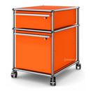 USM Haller Mobile Pedestal with Hanging File Basket, All compartments with a lock, Pure orange RAL 2004
