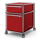USM Haller Mobile Pedestal with Hanging File Basket, All compartments with a lock, USM ruby red