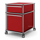 USM Haller Mobile Pedestal with Hanging File Basket, No locks, USM ruby red