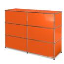 USM Haller Counter Type 1, Pure orange RAL 2004, 150 cm (2 elements), 50 cm