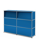 USM Haller Counter Type 2 (with Angled Shelves), Gentian blue RAL 5010, 150 cm (2 elements), 35 cm